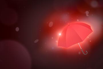 3d rendering of red umbrella on dark neon background