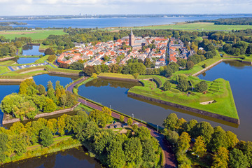Aerial from the historical city of Naarden in the Netherlands