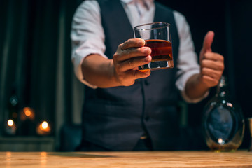 Foto auf Leinwand Alkohol man with a glass of wine