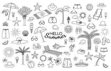 Big collection of summer theme hand drawn doodles. Vector eps10.