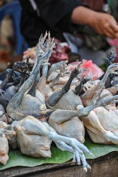 Chicken at a local market in Cambodia