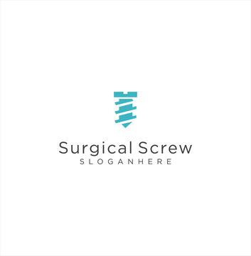 Surgical Screw Logo Design Vector Stock . Medical Logo . Orthopedic Implants Logo .