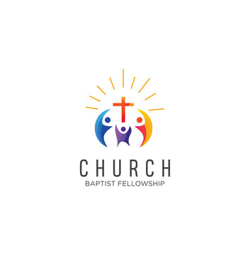 Community church logo design inspiration Vector . Family Church Logo Icon On White Background Stock Vector . Church Colorful Logo Vector