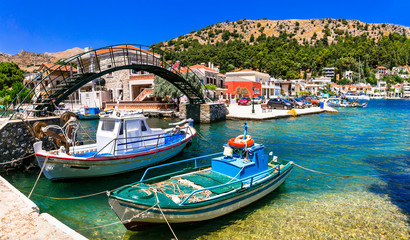 Authentic traditional Greece - traditionla fishing old village Lagkada in Chios island Fototapete
