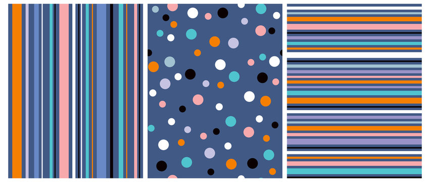 3 Abstract Vector Seamless Prints. Orange, White, Blue and Black Dots Isolated on a Dark Blue Background. Colorful Horizontal Stripes on a Navy Blue. Multicolor Vertical Lines Isolated on a Blue.