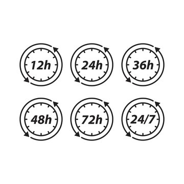 Set of hour clock shipping time on progress. Vector icon template