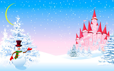 Pink castle winter forest night. Cartoon pink castle and a snowman on a background of a winter snowy forest. Winter landscape with a pink castle