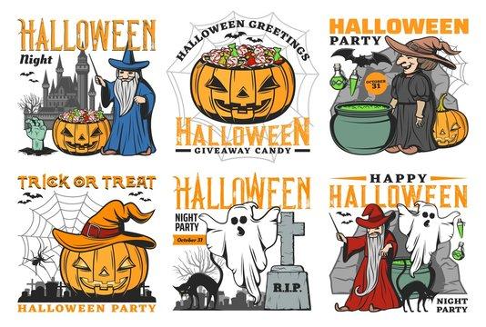 Halloween spooky whitch, ghost, pumpkin, bat icons