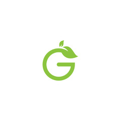 Green logo vector design template with letter G and leaf