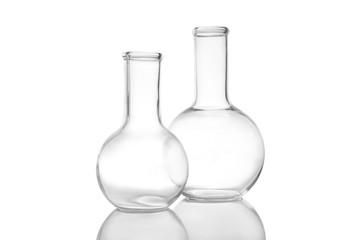 Fototapete - Empty Florence flasks on white background. Laboratory glassware