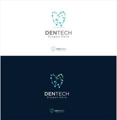 Tooth Dentist Dental Tech Logo Design Template . Abstract Teeth Dental Care Logo Stock Vector . Dental Teeth Digital Logo