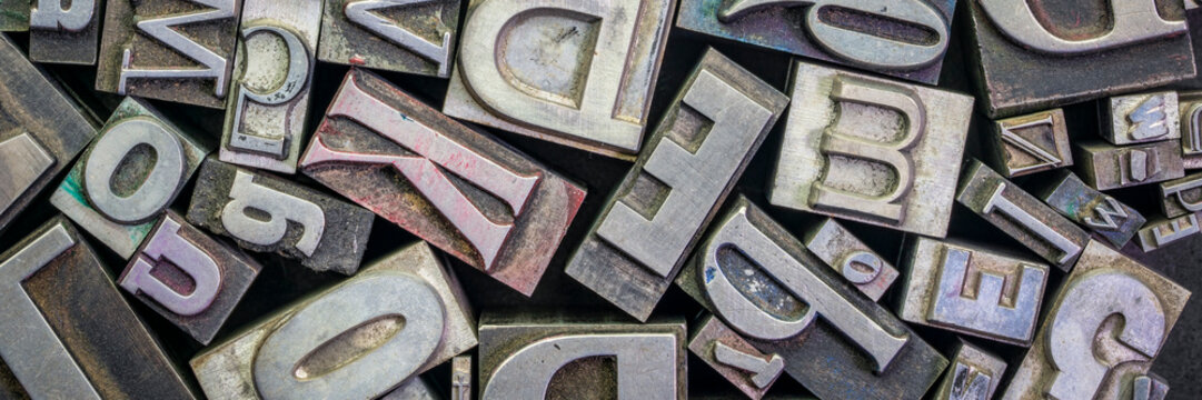 old letterpress metal type printing blocks