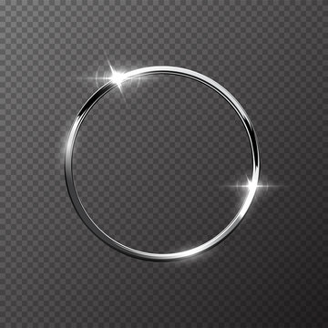 Silver sparkling ring isolated on transparent background. Vector metal frame.