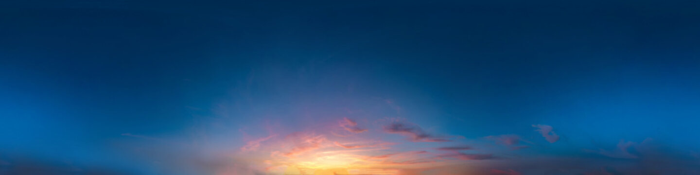 Seamless dark sky after sunset hdri panorama 360 degrees angle view with beautiful clouds  with zenith for use in 3d graphics as sky dome or edit drone shot