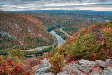 Wall Murals Cappuccino Delaware River Bend in Pocono Mountains in Fall