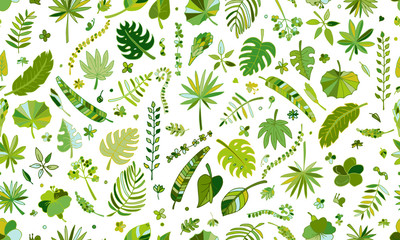 Tropical plants, seamless pattern Wall mural