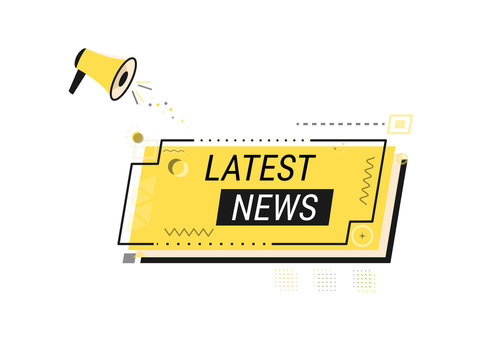 """Hand held megaphone with the words """"latest news"""" speech bubble. Yellow geometric banner for business, marketing and advertising. Flat vector illustration on white background."""