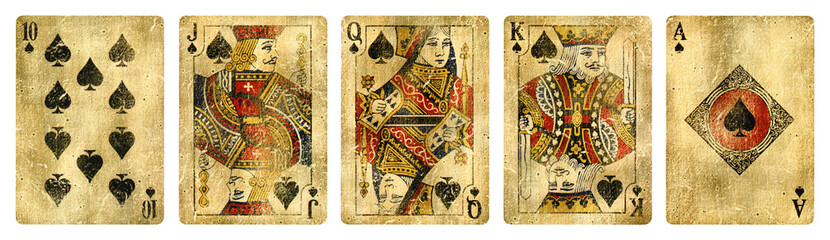 Printed roller blinds Retro Spades Suit Vintage Playing Cards, Set include Ace, King, Queen, Jack and Ten - isolated on white.