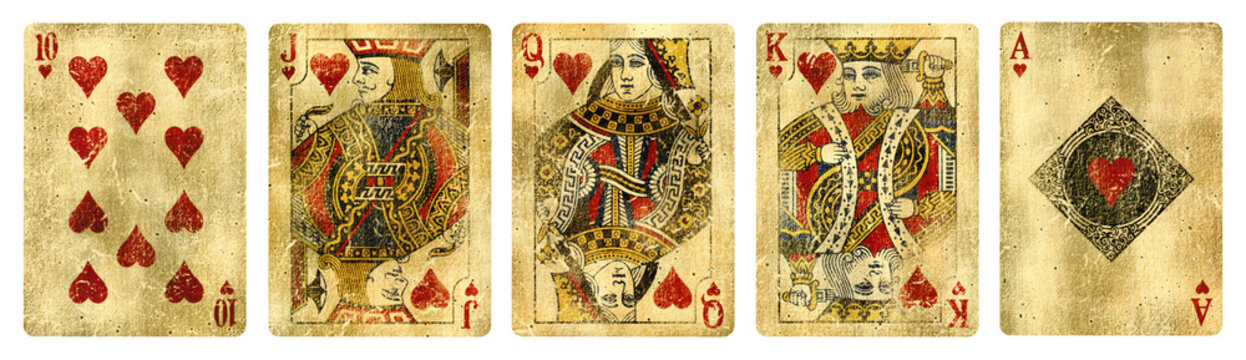 Hearts Suit Vintage Playing Cards, Set include Ace, King, Queen, Jack and Ten - isolated on white.