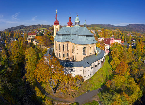 Baroque Basilica church of the Visitation Virgin Mary in spring, place of pilgrimage, Hejnice, Jizera mountain, Czech Republic