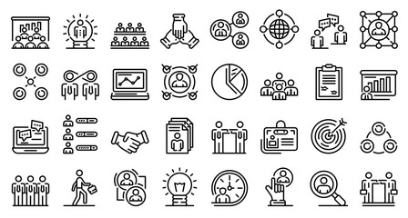 Collaboration icons set. Outline set of collaboration vector icons for web design isolated on white background