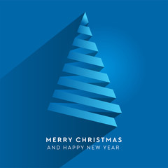 Simple vector christmas tree made from paper stripe - original new year card. Volume blue paper cut fir like arrow with shadow.