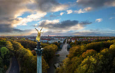 Storm is coming - Autumn view over Munich, Germany, with Angel of Peace in foreground
