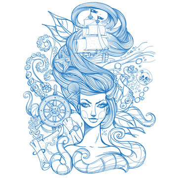 Girl with long hair outline sketch. Portrait of a young woman. Face and make-up. Fabulous sea princess. Mermaid. Monochrome illustration for tattoos, stickers, t-shirt and other items.