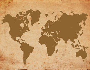 retro styled world map hand drawn