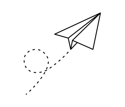 Paper plane vector icon set. Origami paper airplane illustration isolated outline