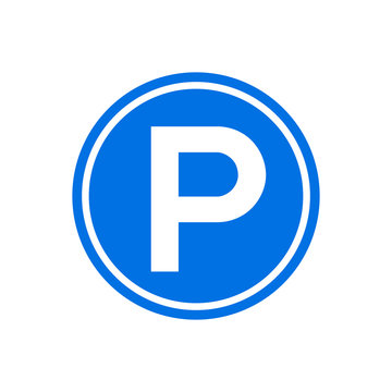 Parking icon round sign. Park symbol circle