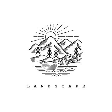 Nature view illustration with line art style logo design template