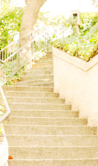 An outdoor staircase in light colors for a background or backdrop.