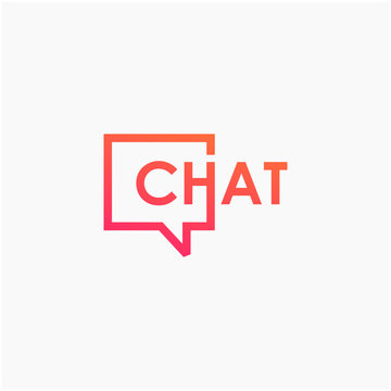 chat lettering with bubble concept. talk, speak, logo template. Chat vector logotype design template.  -vector