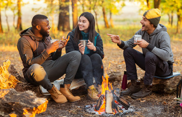 Tuinposter Kamperen Friends sitting beside fireplace in autumn forest, enjoying time together