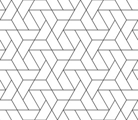 Poster Geometric Vector seamless thin linear tile pattern. Modern stylish fractal texture.