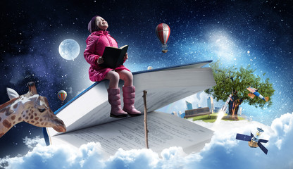 Reading a fairytale. Mixed media
