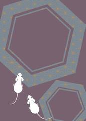 ネズミをモチーフに和文様をあしらった和柄素材