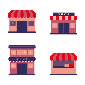 Store vector illustration with simple flat design isolated on white background. Store flat icon