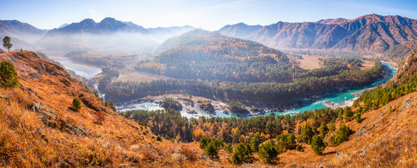 Wall Mural - Panoramic view of the mountain valley. Over the Katun River. Scenic autumn nature, Altai, Russia.