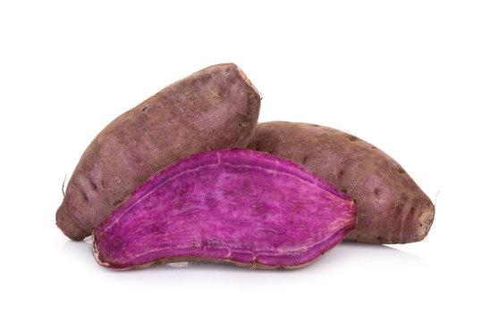 purple sweet potato or yam isolated on white background