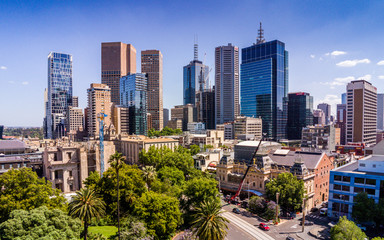 Aerial view of Melbourne CBD from Spring Street