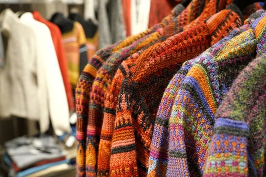 alpaca wool products with colorful traditional patterns