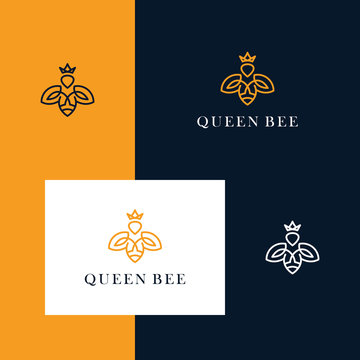 Abstract bee logo design with line art style