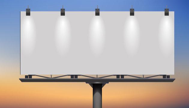 Blank billboard at twilight for design work