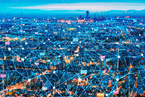 Wall mural Smart Network and Connection city of Japan