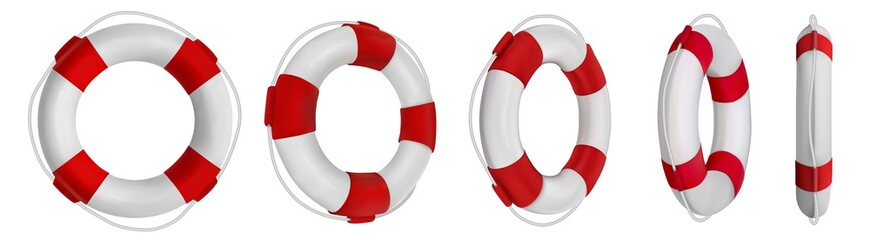 3d rescue life belt illustrations. 5 different perspectives of lifeboat, buoy. Realistic vetor illustration collection. Set of lifeline icons isolated.