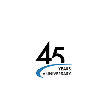 45 years anniversary logo design template, vector illustration