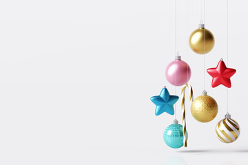 Christmas decoration ball, star, candy can with copy space on white bright background. 3d rendering
