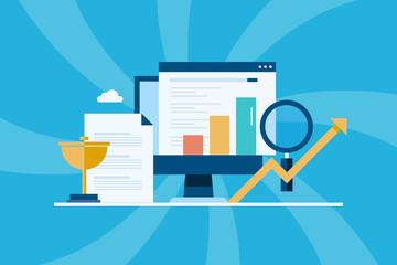Seo ranking, online business success, marketing metrics, data analysis, digital marketing, website traffic growth concept. Flat design banner, template, presentation.